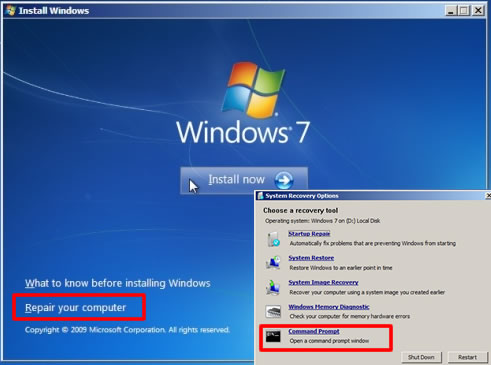 change windows 7 password from command prompt